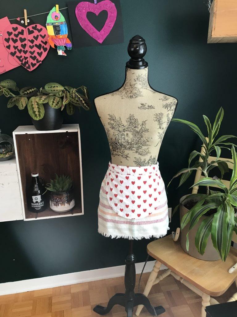 confection, recyclé, tablier, serviette, centre de table, DIY